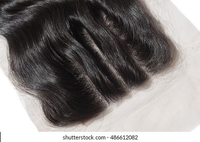 Hand tied natural black human hair three part body wave lace closure for wigs hair extensions