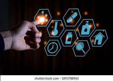 Eine Hand berühren covid-19 Symbol, Computer-Grafik mit Vektorbeleuchtung, Impfforschung und neues normales medizinisches Konzept und dunkler Hintergrund