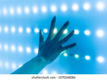hand touch led screen science and technology background