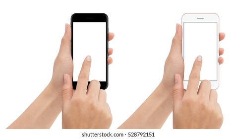 hand touch phone isolated with clipping path on white background, mock-up smartphone blank screen
