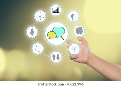 """Hand touch screen interface and select """"Business startup"""".Business concept. Internet concept."""