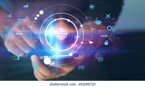 Hand touch screen smart phone, icons interface on screen, Social media, connect to the future concept.