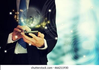 Hand touch screen smart phone.Digital technology concept,Social media