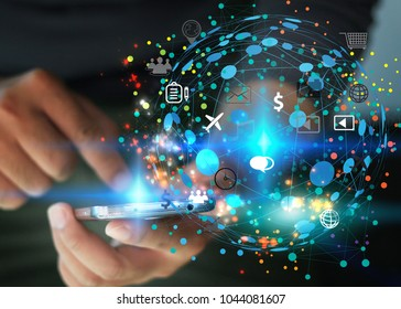 hand touch screen smartphone. World connected, social media concept