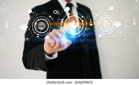 hand touch screen social icons . social media concept