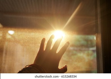 hand touch the sun
