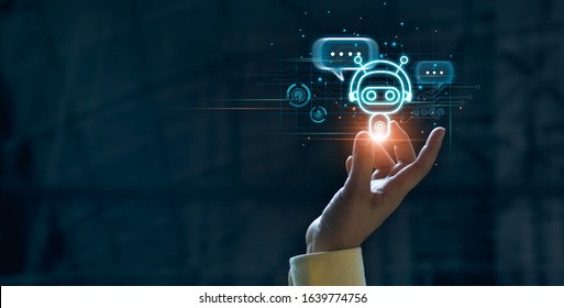 Hand touching digital chatbot for provide access to information and data in online network, robot application and global connection, AI, Artificial intelligence, innovation and technology.