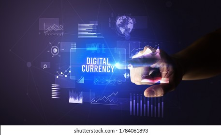 Hand touching DIGITAL CURRENCY inscription, new business technology concept