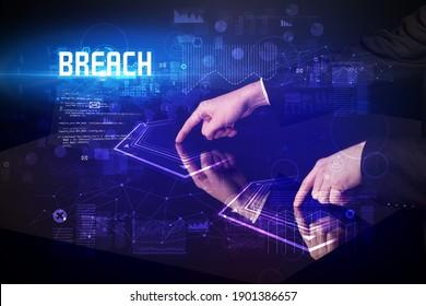 Hand Touch Digital-Tisch mit BREACH-Inschrift, neues Alters-Sicherheitskonzept