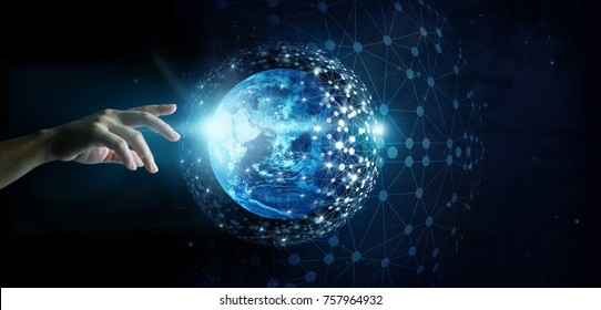 Hand of touching global network connection and data exchanges on the planet earth background, Elements of this image furnished by NASA