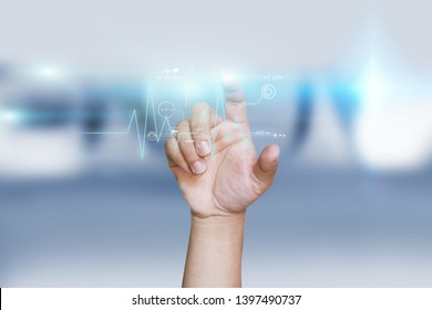hand touching icon medical network on virtual screen interface