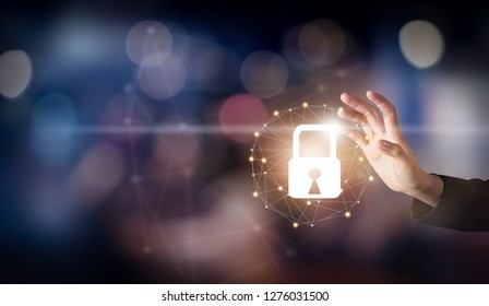 Hand touching interface online and icon key lock network connection on screen. Cyber Security of network. Innovation technology concept.