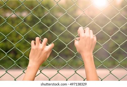 Hand touching iron mesh