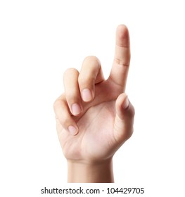 hand touching Isolated on white background