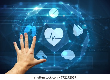 hand touching medical futuristic interface