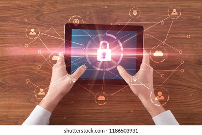 Hand touching online network security  button and cloud, connection and contact concept