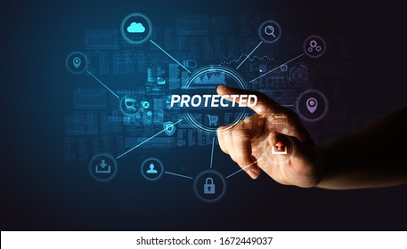 Hand touching PROTECTED inscription, Cybersecurity concept