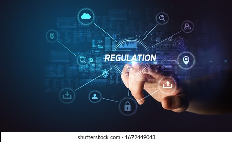 Hand touching REGULATION inscription, Cybersecurity concept