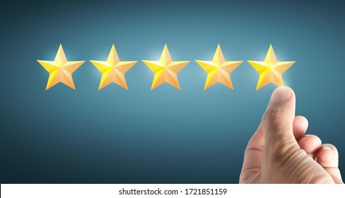 Hand of touching rise on increasing five stars. Increase rating evaluation and classification concept