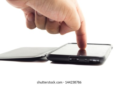 Hand touching screen on modern mobile smart phone