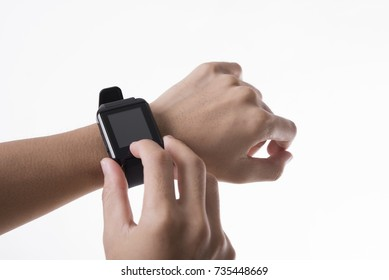 hand touching screen smart watch technology gadget communication isolated on white background.
