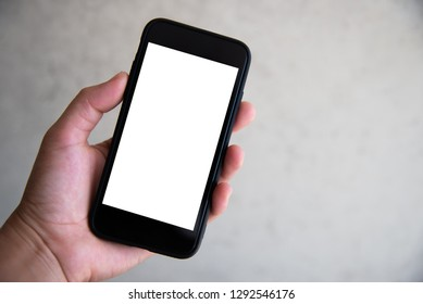 Hand touching smartphone white screen technology concept.