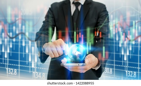 hand touching stock chart on virtual screen interface. business concept,technology,management