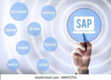 hand touching a touch screen interface with virtual representation of SAP