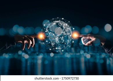 Hand touching virtual world with connection network. Global data information and technology exchange.