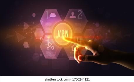 Hand touching VPN inscription, new technology concept