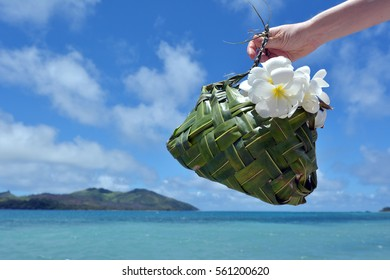 Hand of a tourist woman carry a Fijian basket made out of coconut tree leaves decorated with white plumeria flowers against blue lagoon and Island in Fiji. Travel holiday vacation concept. copy space