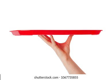 Hand with tray isolated on white background