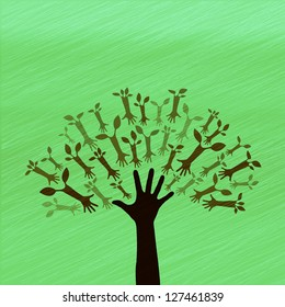 Hand Tree Sign