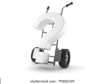 Hand truck with question mark isolated on white background. 3d illustration