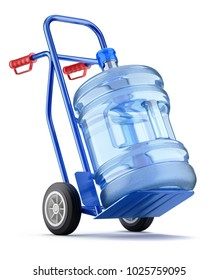 Hand truck with water dispenser bottle - 3D illustration