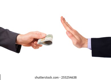 Hand is trying to give money to other hand, isolated on white background