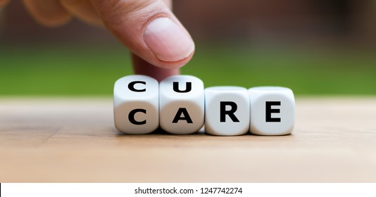 "Hand is turning dices and changes the word ""CARE"" to ""CURE"""