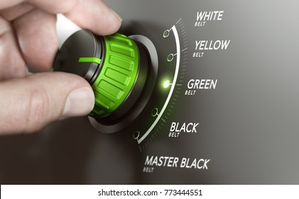 Hand turning a knob over grey background and selecting the green belt level. Lean management training concept. Composite image between a hand photography and a 3D background.