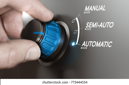 Hand turning a knob over grey background and selecting the automatic mode. Manufacturing process automation, automatic testing concept. Composite image between a hand photography and a 3D background