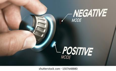 Hand, die einen Knopf dreht, um von der negativen auf die positive Einstellung zu wechseln. Psychologisches Konzept. Zusammenstellung von Bild zwischen Fotografie und 3D-Hintergrund.