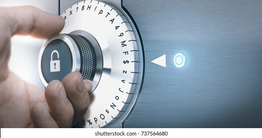 Hand turning a safe lock dial with numbers, punctuations, letters and symbols. Concept of Safe and secured password generation. Composite image between a hand photography and a 3D background.