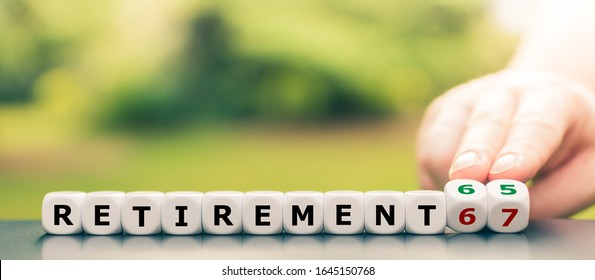 """Hand turns dice and changes the expression """"retirement 67"""" to """"retirement 65""""."""