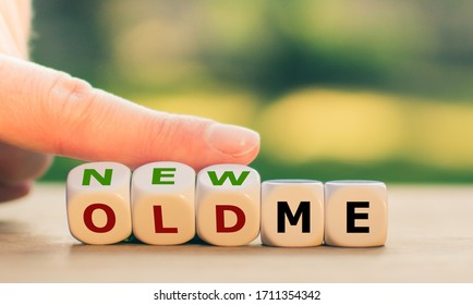 "Hand turns dice and changes the expression ""old me"" to ""new me""."