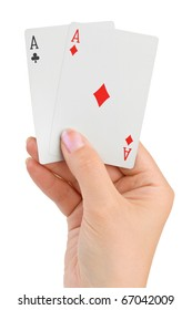 Hand with two aces isolated on white background