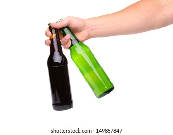 Hand with two bottle of beer