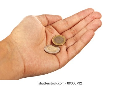 Hand with two euro coins isolated over white background