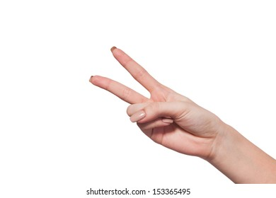 Hand with two fingers up in the peace or victory symbol. Also the sign for the letter V in sign language. Isolated on white.