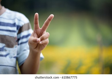 Hand with two fingers up in the peace or victory symbol