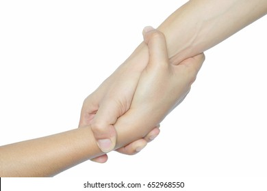 Hand two hand  .Help Concept .white background