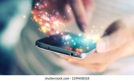 hand typing mobile smart phone.